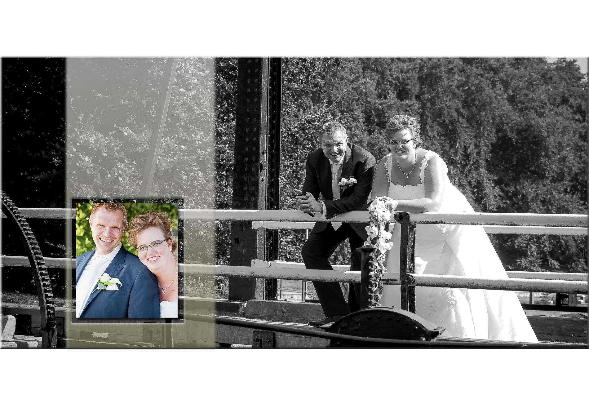 Trouwreportage | Trouwfoto's | bruidspaar bij oude brug