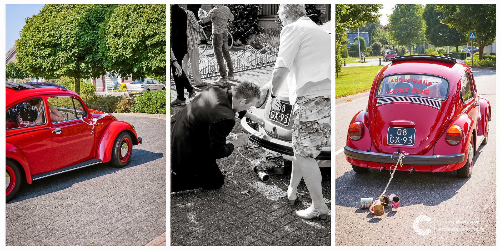 Trouwreportage | Trouwfoto's | just married in rode kever