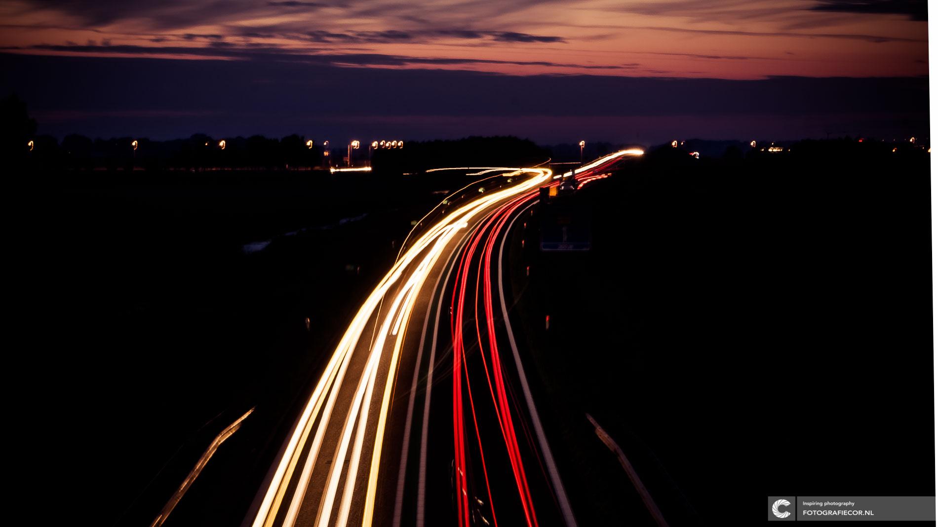 Avondfotografie | zonsondergang afslag N50 | Kampen | Lange sluitertijd