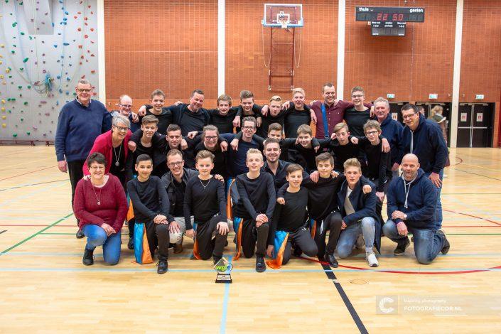 Groepsfoto vrijwilligers Indoor percussion Jong KTK - Kampen