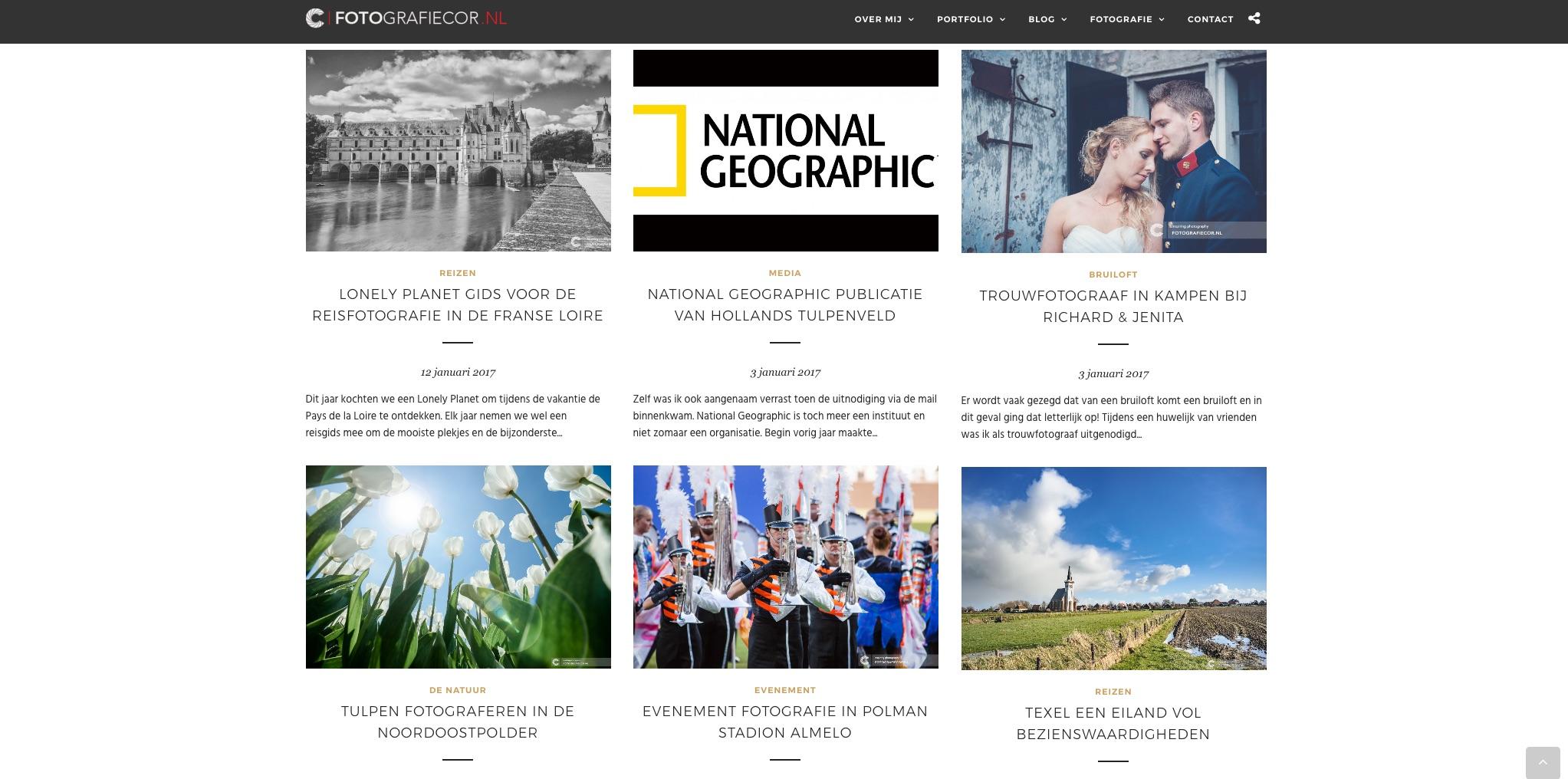Foto website met blog vol artikelen van fotograaf uit Kampen